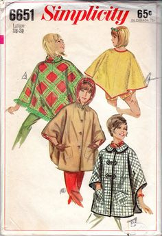 "1960s Women's Cape & Ponch Pattern - Size Large (18-20), Bust 38""-40""- Simplicity 6651 uncut on Etsy, $7.80 CAD"
