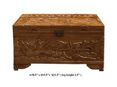 Chinese Camphor Wood Lotus Carving Storage Accent Trunk - Golden Lotus Antiques
