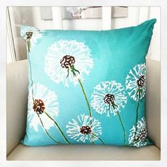 Throw Pillow: Dandelions on Aqua by India & Purry