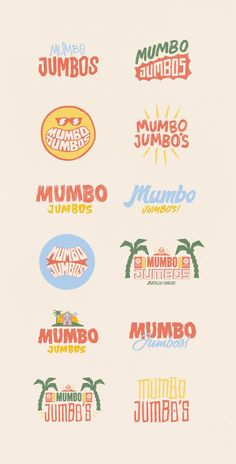 We were lucky enough to work with the now local central Coast (Aus) hotspot; Mumbo jumbos in creating a vibrant Caribbean inspired branding package. Packed full of bold colours playful typography and vintage illustrated imagery we provided Mumbo Jumbos Typography Logo, Typography Design, Branding Design, Food Logo Design, Brand Identity Design, Logo Branding, Icon Design, Typography Inspiration, Graphic Design Inspiration