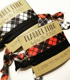 Set of 2 Flannel Fling Before the Ring / Buffalo Plaid Bachelorette Party Favors / Elastic Hair Tie / Creaseless Hair Tie