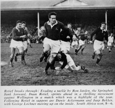 1956 - Wellington : 06 / Boks : 08 Retief on the charge against Wellington with Dawie Ackermann just behind him. The player on the ground –after being pushed-off by Retief- is Tarpley. International Rugby, New Zealand Rugby, Real Men, Tours, History, Sports, South Africa, Hs Sports, Historia