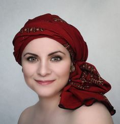 Red Turban Dreads Wrap, Alopecia Scarf, Chemo Hat, Boho Gypsy Tribal, One Piece Wrap, Batik Turban 334-41 - pinned by pin4etsy.com