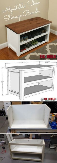 Check out how to build an adjustable DIY shoe storage bench @istandarddesign