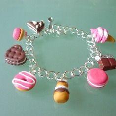 Bracelet 8 gourmandises,  chocolat et fuschia, pour adulte ou enfant