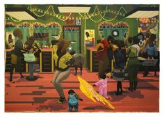 Kerry James Marshall, School of Beauty, School of Culture, 2012. Acrylic and glitter on canvas; 274x401cm. Birmingham Museum of Art, Museum purchase with funds provided by Elizabeth (Bibby) Smith, the Collectors Circle for Contemporary Art, Jane Comer, the Sankofa Society, and general acquisition funds ©Kerry James Marshall. Photo: Sean Pathasema