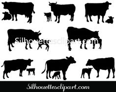 Cow and Calf Vector Silhouette Download Cow Silhouette