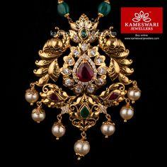 Anandi Pachi Pendant With Beadmala