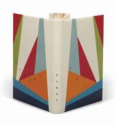 Albert CAMUS (1913-1960). L'Été. Paris: NRF, 1954. In-12 (185 x 115 mm). Reliure signée d'Annick Butré et datée 2008, box ivoire, plats ornés d'un décor géométrique de box de diverses couleurs sur lequel se détache le titre et le nom de l'auteur, dos lisse, doublure de box rouge et gardes de daim gris, couverture et dos conservés, chemise et étui assortis
