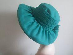 60s 70s Hat Emerald Green Nylon  Ruffle Hat Bonnet Wide by Rorevie, £28.00