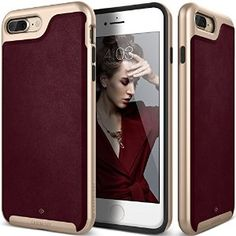 Amazon.com: iPhone 7 Plus Case, Caseology [Envoy Series] Classic Rich Texture PU Leather [Leather Cherry Oak] [Luxury Slim] for Apple iPhone 7 Plus (2016): Cell Phones & Accessories