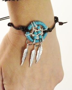 Turquoise Dream Catcher Bracelet Anklet by MidnightsMojo on Etsy