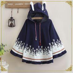 Tips: *Please double Sweet rabbit printing hooded cloak coat Harajuku Fashion, Kawaii Fashion, Cute Fashion, Fashion Outfits, Harajuku Japan, Fasion, Womens Fashion, Loli Kawaii, Kawaii Bunny