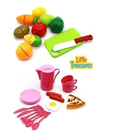 Little treasures 2 in 1 Tasty Pretend Miniature Play Food set toys for Kids >>> Continue to the product at the image link.