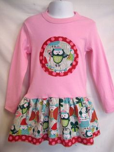 Girl's Christmas Dress Owl Applique in Pink by magicalscraps - StyleSays