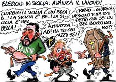 La Vignetta dAutore di Paride Puglia: elezioni in Sicilia. Salvini Meloni Berlusconi Ovvero il nuovo che avanza