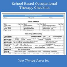 School Based Occupational Therapy Checklist - Your Therapy Source