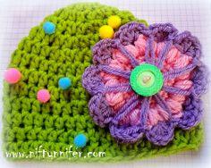 Big Flower Baby Hat Free Crochet Pattern By Niftynnifer