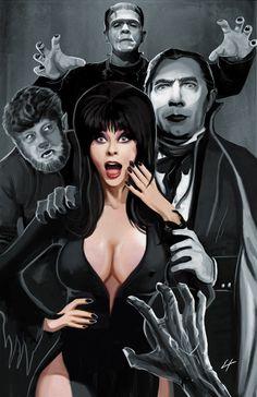 Elvira and Classic Monsters by ErikHodson.deviantart.com