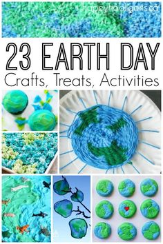 Earth 23 Earth Day crafts treats and activities - Happy Hooligans - 23 Earth Day crafts, treats and activities for kids. So many fun ways to celebrate and observe Earth Day at home or in the classroom! Earth Day Activities, Spring Activities, Craft Activities, Preschool Crafts, Toddler Activities, Exercise Activities, Earth Day Games, Nursery Activities, Motor Activities