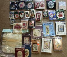 28 Cross Stitch Kits vintage Lot New Unused  80s 90s fabric mini more #3 #Mixed #kits