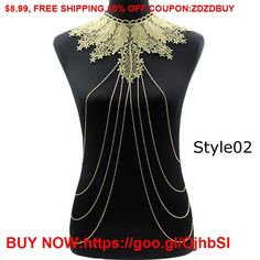 Lace Body chain Women Flower Collar Choker Gold Body Chains  Hollow out Gothic Big body Necklace #Earrings #Rings #Handmade #Silver #Pandora #Nature #Necklaces #Bracelets #Pendants #Bangles