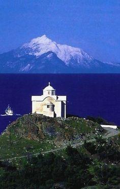 Visit TravelnPleasure.Com   Mountain Athos, view from Lemnos island, Greece
