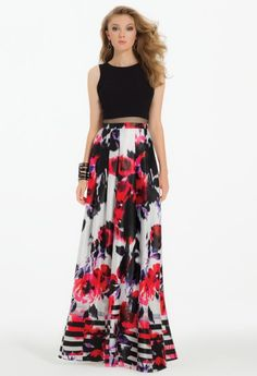 Floral Stripe Border Popover Dress