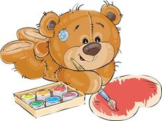 Buy Brown Teddy Bear Paints by vectorpocket on GraphicRiver. Vector illustration of a brown teddy bear lies on the floor and paints a heart with a brush and a red paint. Teddy Bear Hug, Brown Teddy Bear, Teddy Bear Toys, Tatty Teddy, Cute Teddy Bears, Bear Cartoon, Cute Cartoon, Illustration Mignonne, Illustration Art