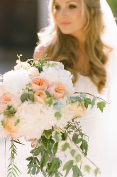 most perfect bouquet ever. peach juliet roses and white and pale pink peonies