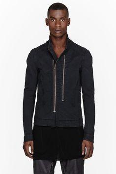 JULIUS black Jacquard Denim Jacket