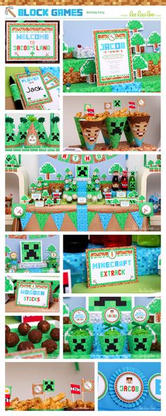 Block Games Birthday Party Package Collection Set by happyDIYparty