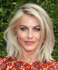 View and try on this Julianne Hough Medium Straight Casual hairstyle - Light Blonde (Champagne).