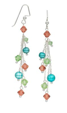Earrings with Swarovski Crystal Beads, Cultured Freshwater Pearls and Sterling Silver Chain - Fire Mountain Gems and Beads
