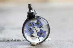 Forget Me Not Necklace Botanical Jewelry Soldered Glass Pendant Pressed Flower Terrarium Blue Flower Spring Natural Woodland Jewelry Rustic by CoastalAlchemy on Etsy https://www.etsy.com/listing/234155061/forget-me-not-necklace-botanical-jewelry