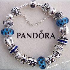 Authentic Pandora Bracelet, blue and silver. Pandora Beads, Pandora Bracelet Charms, Pandora Rings, Pandora Jewelry, Charm Jewelry, Beaded Jewelry, Beaded Bracelets, Jewellery, Pandora Collection