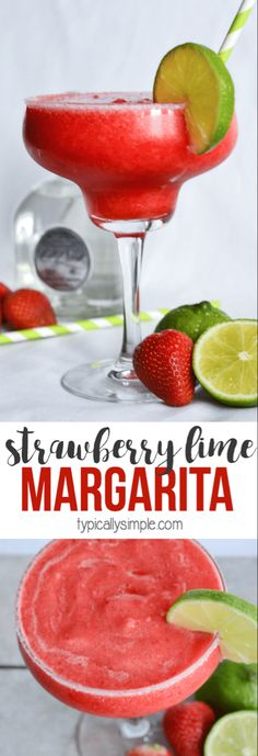 Nadire Atas on Margarita Cocktails A delicious strawberry-lime margarita recipe that is easy to make and perfect to enjoy while relaxing by the pool or at the beach! Summer Drinks, Cocktail Drinks, Fun Drinks, Cocktail Recipes, Beverages, Cocktail Ideas, Dinner Recipes, Strawberry Lime Margarita Recipe, Easy Margarita Recipe