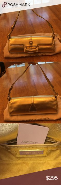 "Jimmy Choo Authentic Metallic Gold Clutch Bag Jimmy Choo 100% Authentic Metallic Gold Leather Clutch Bag, great condition, gently worn only a few times but there are small signs of wear in the leather all around bc it's just the nature of the metallic leather, kept in dustbag, bag 9.5"" long, about 3 1/4"" high, about 2.5"" wide closed, shoulder strap about 17"" long, forgot actual price, will list as $895 Jimmy Choo Bags"