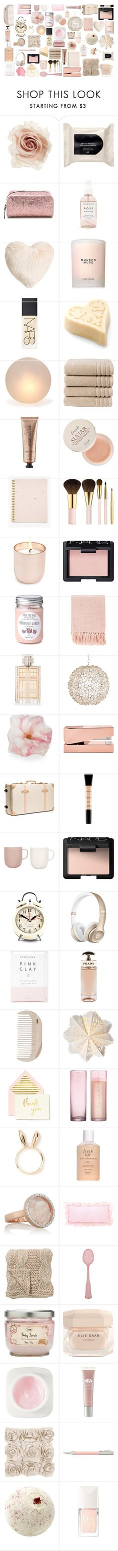 """""""light pink fillers"""" by juliehalloran ❤ liked on Polyvore featuring Cara, H&M, Kate Spade, Herbivore, Nordstrom, Estée Lauder, NARS Cosmetics, Mitchell Gold + Bob Williams, Christy and Josie Maran"""