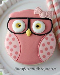 Geeky Girl Owl Cookies | http://simplysweetsbyhoneybee.com
