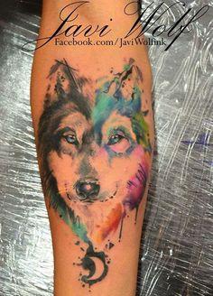Siberian Husky 'watercolor' tattoo *[Javi Wolfink]