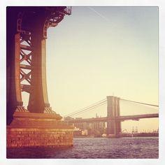 Running under the Manhattan Bridge.