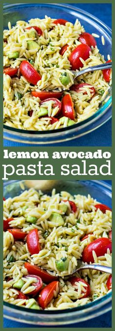 Lemon Avocado Pasta Salad – Orzo pasta is tossed with fresh cherry tomatoes, creamy avocado, basil, olive oil, and fresh lemon juice to make a light, yet satisfying side dish for any meal #salad #healthy #avocado #pastasalad #pasta #basil #lemon #recipe #sidedish