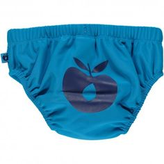 Bathing nappy, turquoise with blue apple, Smafolk