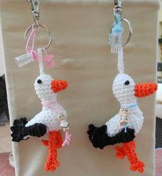 Crochet pattern key chain Stork, Owl or Pony - haakpatroon sleutelhanger Ooievaartje, Uil of Paardjes CHEAPER NOW Crochet Baby Toys, Crochet Birds, Crochet Cross, Crochet Animals, Crochet For Kids, Crochet Flowers, Knit Crochet, Easy Crochet Patterns, Crochet Designs
