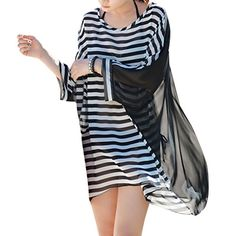 Women's Oversized Stripe Beach Bikini Swimwear Cover-up,Black Stripes. Perfect cover-up dress for your swimsuit. Incredibly soft and comfortable chiffon material. Sexy, semi-sheer design allows you to show off your bikini. Features a horizontal stripe design and cute boho tassels along the trim. Styled in a loose-fit, lightweight, and airy design that is great for the long hot summer days.