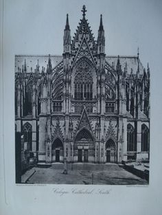 Cologne Cathedral, South View , Cologne, Germany, EUR From the American Architect and Building News, 1886. 11 by 16 inches. VG+ condition with browning around the edges and light crinkling. Photogravu