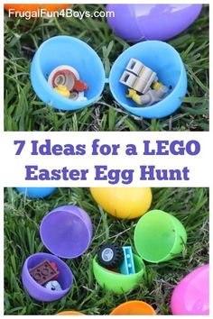 Seven ways to do a LEGO Easter Egg Hunt for kids - using new Legos or bricks you already own. What a great candy-free idea!!