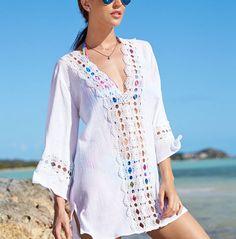 La Blanca Crochet-Trim Tunic Cover Up - Swimwear - Women - Macy's Beach Vacation Outfits, Crochet Trim, Swimsuits, Swimwear, Cover Up, My Style, Long Sleeve, Womens Fashion, How To Wear