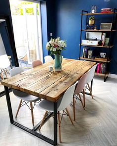 Reclaimed Industrial Chic Seater Solid Wood & Steel Metal Dining Source by Dining Room Design, Diy Dining, Dining Table, Dining Room Industrial, Dining Table Chairs, Dining Room Table, Kitchen Style, Rustic Dining Table, Metal Dining Table